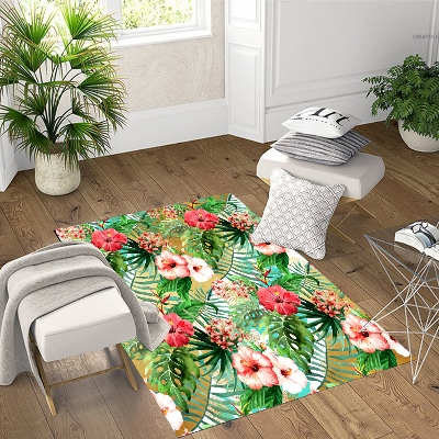 Else Tropical Flowers Red Pink White Roses 3d Print Non Slip Microfiber Living Room Decorative Modern Washable Area Rug Mat