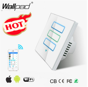 Wallpad White WIFI Light Switch EU UK 110~220V 3 Gang 2 Way 2.4 Ghz Wifi IOS Android Touch Screen Control Wall Light Switch