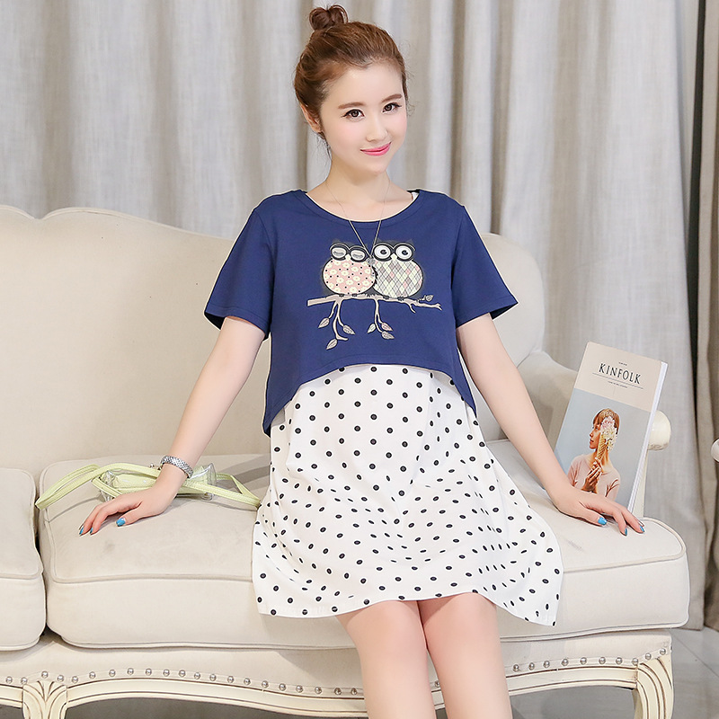 Summer Two-piece Suit Maternity Nursing Dresses Breast Feeding Clothes for Pregnant Women Pregnancy Breastfeeding SYHB17042901
