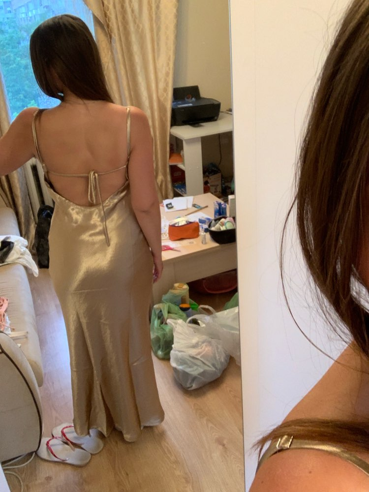 Gold Satin Lace Up Sexy Dress Women Backless Fashion Silk Long Party Dress Elegant Club Evening Soft Summer Dress photo review