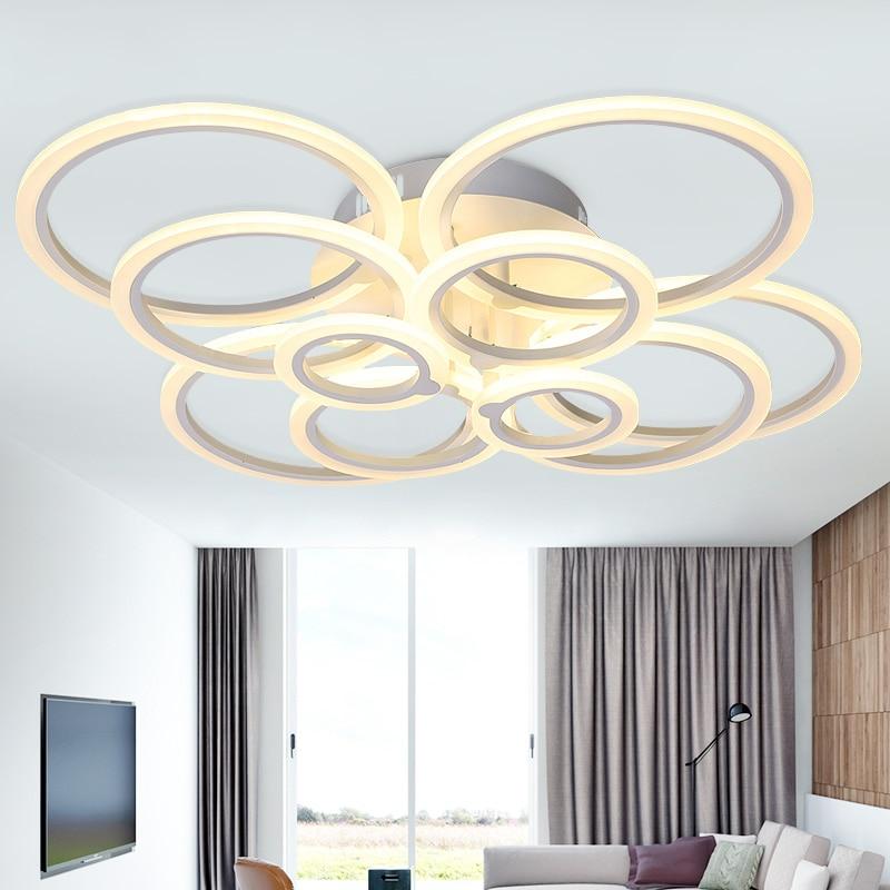 Hot Modern Led Ceiling Chandelier For Living Room Bedroom Study Room Circles Rings Deco Indoor Ceiling Chandelier Fixtures