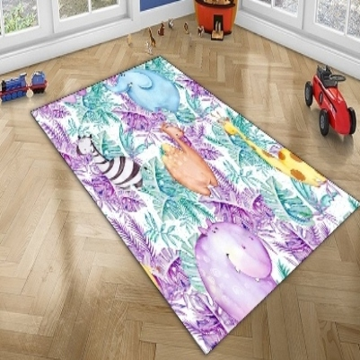 Else  Jungle Leaves Camel Hippo Giraffe Tropical Animal 3d Print Non Slip Microfiber Children Kids Room Decorative Area Rug Mat