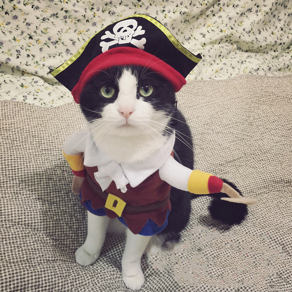 TINGHAO Funny Pet Dog Cat Pirate Costume Suit Halloween Party Puppy Dressing Up Clothes