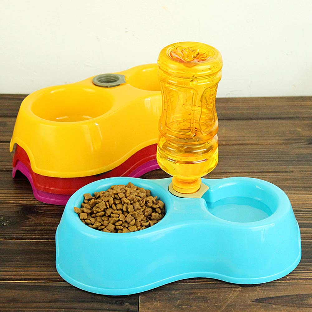 New 1pcs Double Pet Dog Food Dish Bowls Automatic Water Dispenser Pet Feeders Utensils Bowl Cat Pet Drinking Fountain
