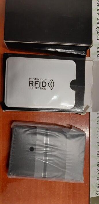 BISI GORO Antitheft Men Vintage Credit Card Holder Blocking Rfid Wallet Leather Unisex Security Information Aluminum Metal Purse photo review