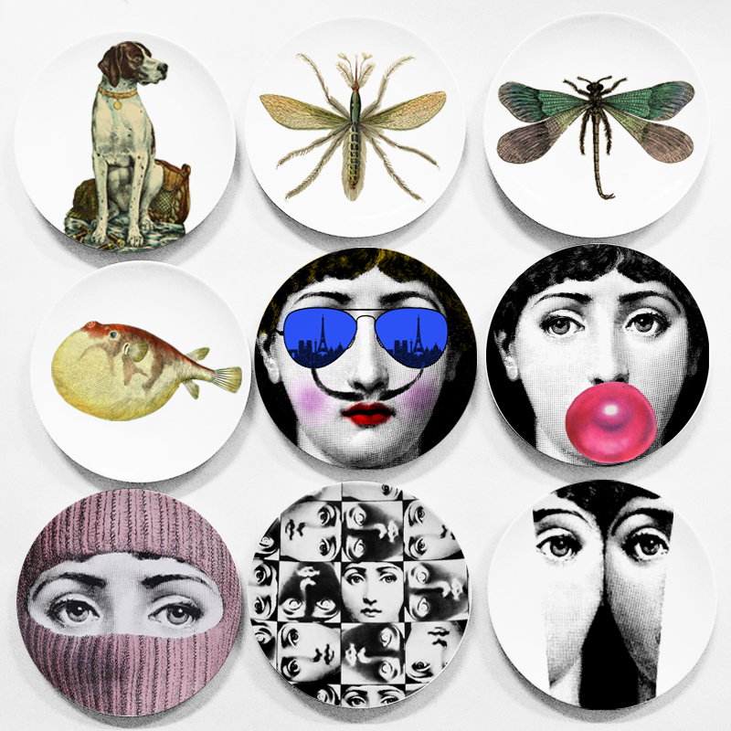 Beautiful Plates Fornasetti Plate Ceramic Wall Hanging Decorative Dish Creative Design Classical Elegant Bar Hotel Home Decor