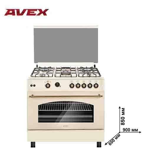 Газовая плита с газовой духовкой  AVEX FG902YR, с чугунными решетками