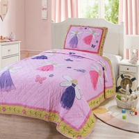 Kids Quilt Set 2pcs Handmade Patchwork Bedspread Applique Cotton Quilts Princess Pink Coverlet Twin Size Girls Bedding Bed Cover