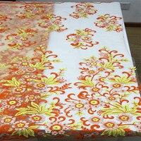Новое поступление желтый микс оранжевый африканские ткани шнурка индийский платье с цветочным рисунком чистая кружево Аппликация вышитые