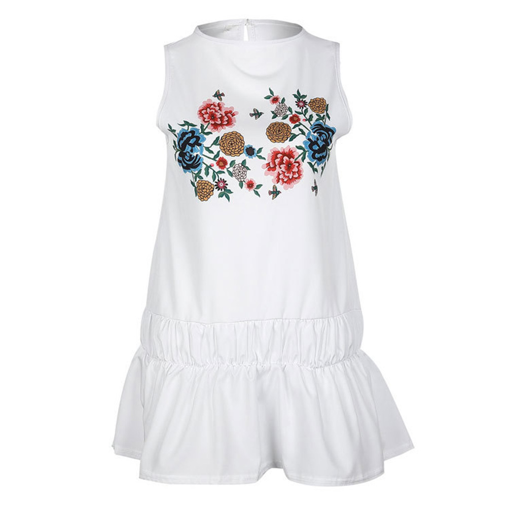 2018 Women Summer Short Flounced Dress sexy sleeveless vintage Floral Evening Party Sundress beach dress vacation vestidos 2018