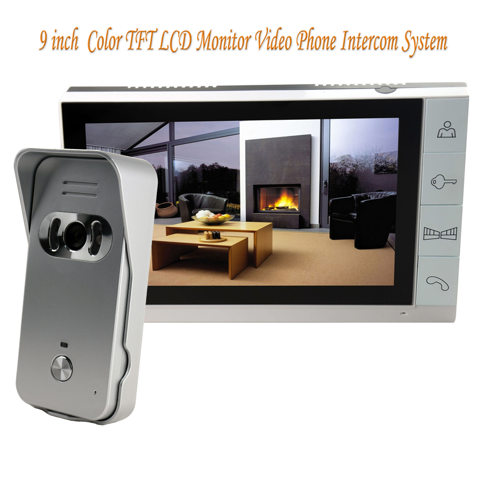 Big 9 inch Color TFT LCD Monitor Video Door Phone Doorbell Intercom System 700TVL Night Vision Camera For Home Security tmezon 4 inch tft color monitor 1200tvl camera video door phone intercom security speaker system waterproof ir night vision 4v1