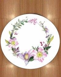 Innego fioletowy różowe kwiaty zielony bluszcz koło projekt 3d drukuj Anti Slip powrót okrągłe dywany dywan dla salony łazienka w Dywany od Dom i ogród na