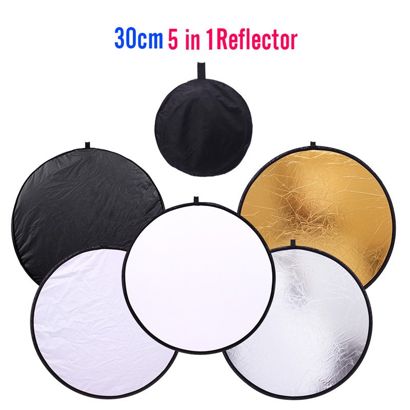 30CM 5 IN 1 Round Photography Reflector Collapsible Photo Studio Photo Reflecotor Photographic Lighting Reflector Drop Ship