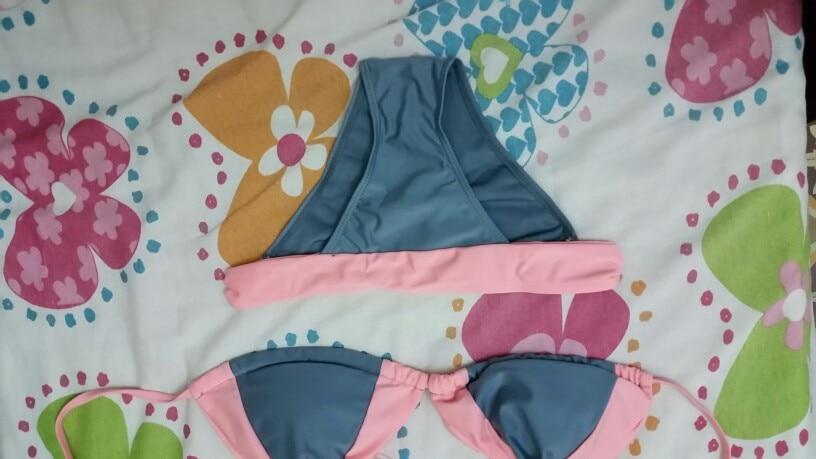 Swimsuit Women Bikini Set Solid color Swimwear Padded Badpak Bandage Low Waist fatos de banho Halter Biquini bathing suit women
