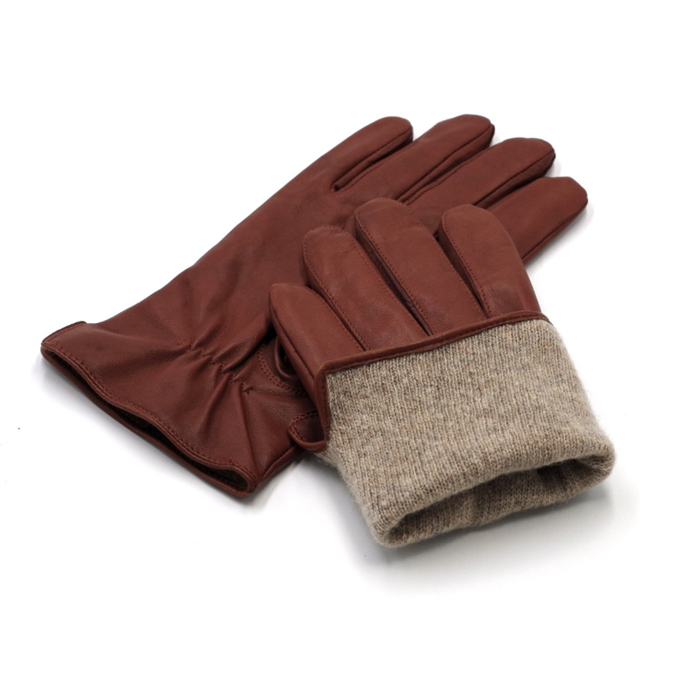 Tan S Harssidanzar Mens Luxury Italian Sheepskin Leather Gloves Vintage Finished Cashmere Lined Upgrade