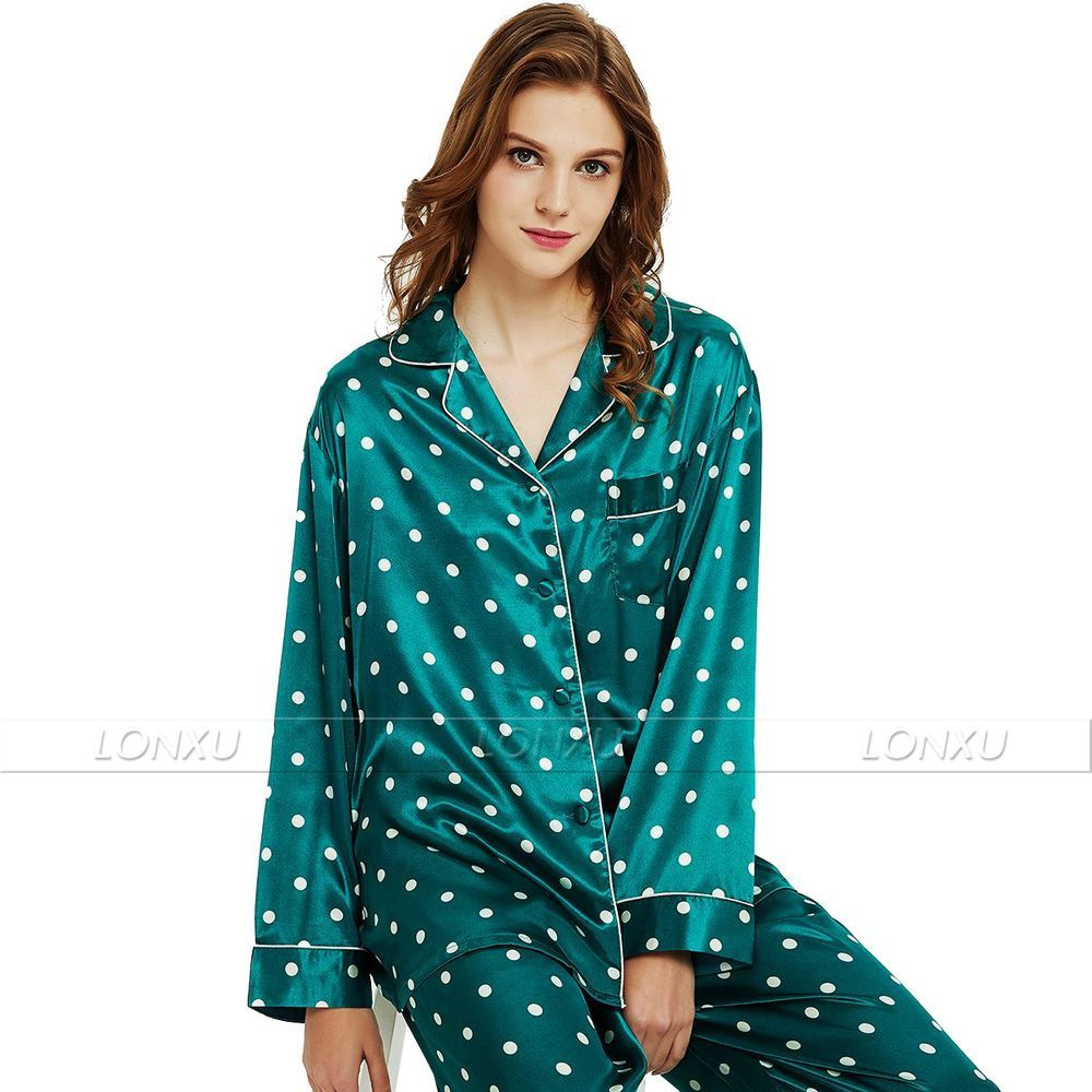Womens Silk Satin   Pajamas     Set     Pajama   Pyjamas   Set   Sleepwear Loungewear S,M, L, XL, 2XL, 3XL Plus