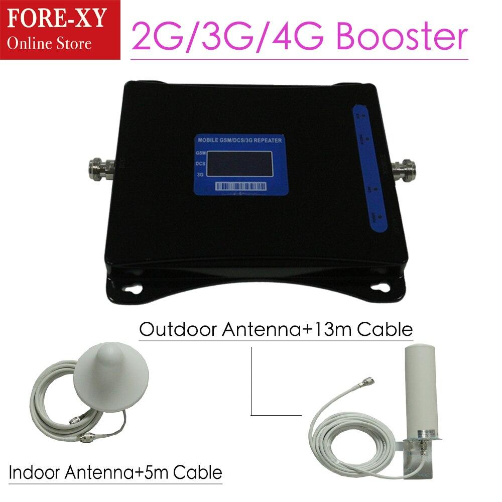 Tri banda móvil señal repetidor 2G 3G 4G celular amplificador Booster amplificador GSM 900/DCS LTE 1800/WCDMA UMTS 2100 MHz repetidor