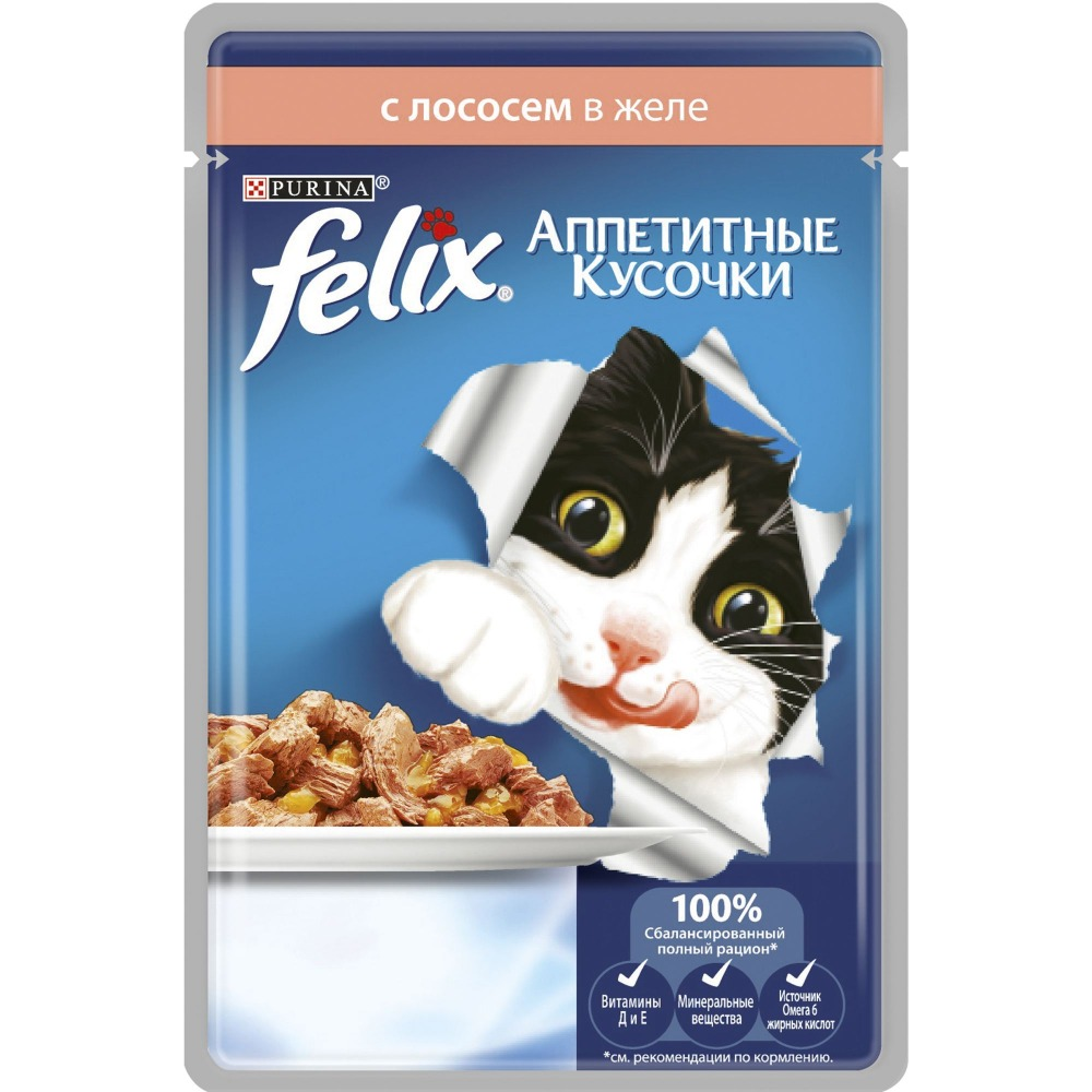 Wet food Felix Appetizing Pieces for cats with salmon, Pouch, 24x85 g. цена и фото