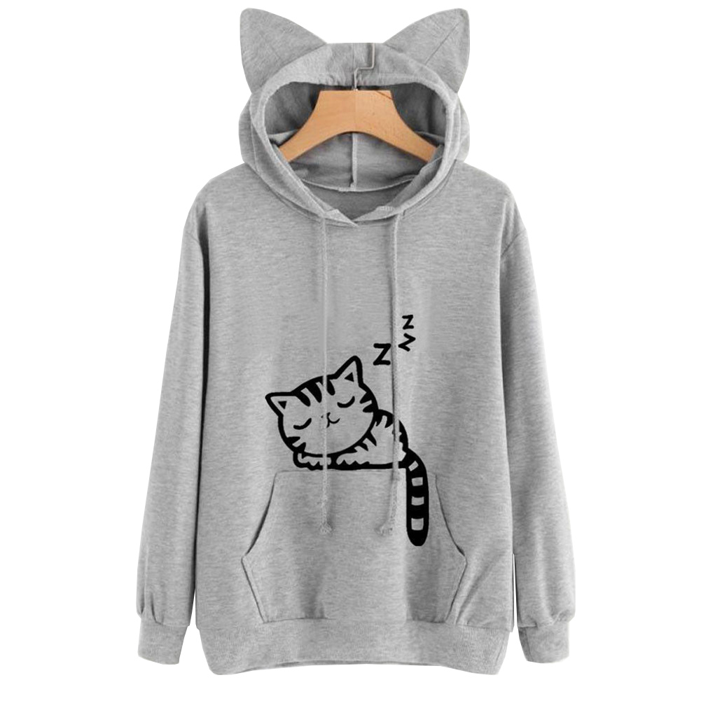 Women Sweatshirts Cute Cat Print Cat Ear Kawaii Hoodies ...