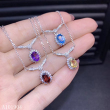 KJJEAXCMY boutique jewelry 925 sterling silver inlaid natural topaz garnet citrine amethyst female necklace necklace support tes natural garnet blue topaz amethyst silver bracelet 8 pieces of oval 4mm 6mm beautiful color and fashion design