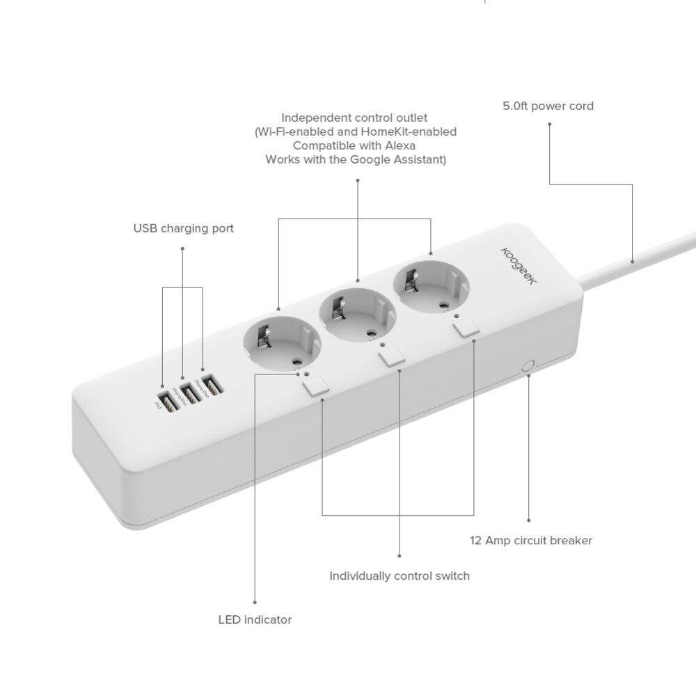 Умный дом Koogeek Wi-Fi интеллектуальный розеточный защитник индивидуально контролируемый 3 розетка силовой сектор для Apple HomeKit Alexa Google помощник (Фото 6)
