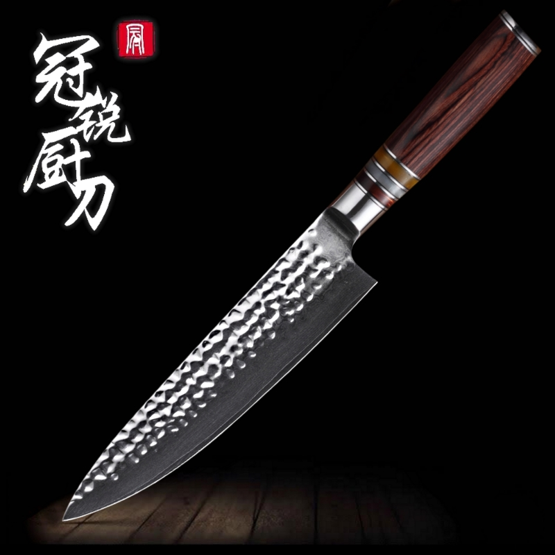 Damascus Chef Knife vg10 Hammered Blade Japanese Damascus Steel Kitchen Knives Santoku Utility Professional Cooking Tools