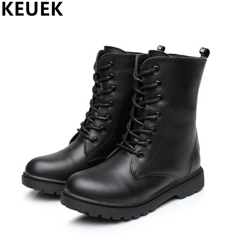 Children Martin boots Genuine leather Fashion Motorcycle boots Autumn Winter Boys Girls shoes Mid-Calf Lace-Up Snow boots 041 british design mens casual mid calf martin punk motorcycle high boots rivets spring autumn genuine leather shoes lace up zapatos