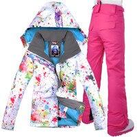 GSOU SNOW Brand женский лыжный костюм непромокаемая Лыжная куртка брюки Зимний Открытый Лыжный Сноуборд костюм комплект куртка брюки зимняя одеж