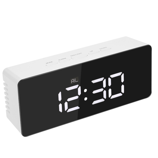 Digital LED Desktop Clock Alarm Clock USB & Battery Operated Display Mirror Clock with Snooze Function Adjustable LED Luminance