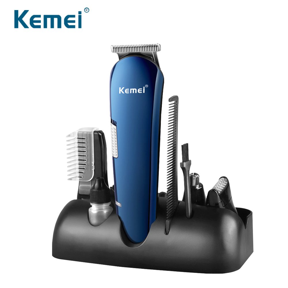 Kemei AC100V 240V 5 in 1 Rechargeable Hair Trimmer Titanium Hair Clipper Electric Shaver Beard Trimmer USB Chargeable Shaving