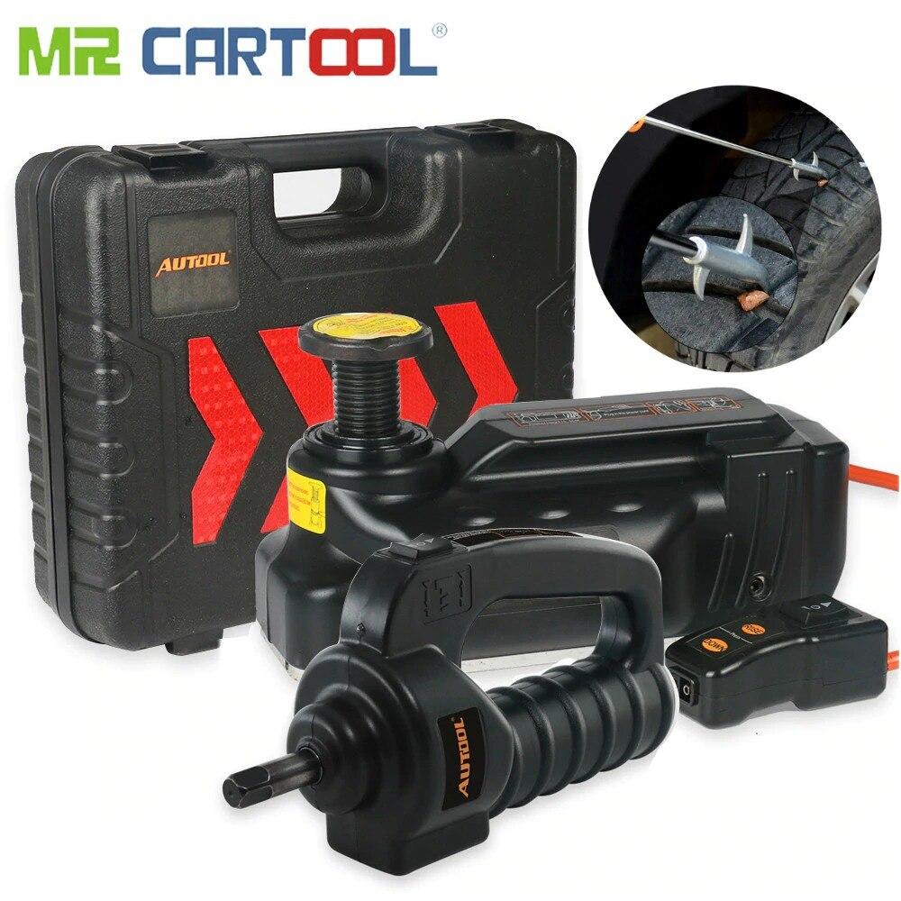 3.5 T électrique hydraulique vérins de sol pneu gonfleur pompe lampe de poche LED 3 en 1 ensemble coffre-fort marteau voiture réparation outil Kit clé à chocs