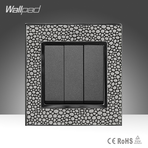 Hotel System Wallpad Pearl Leather Frame 110-250V 16A 3 Gang 1 Way Switch Power Supply Lighting Switch Free Shipping