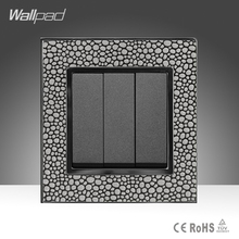 цена на Hotel System Wallpad Pearl Leather Frame 110-250V 16A 3 Gang 1 Way Switch Power Supply Lighting Switch Free Shipping