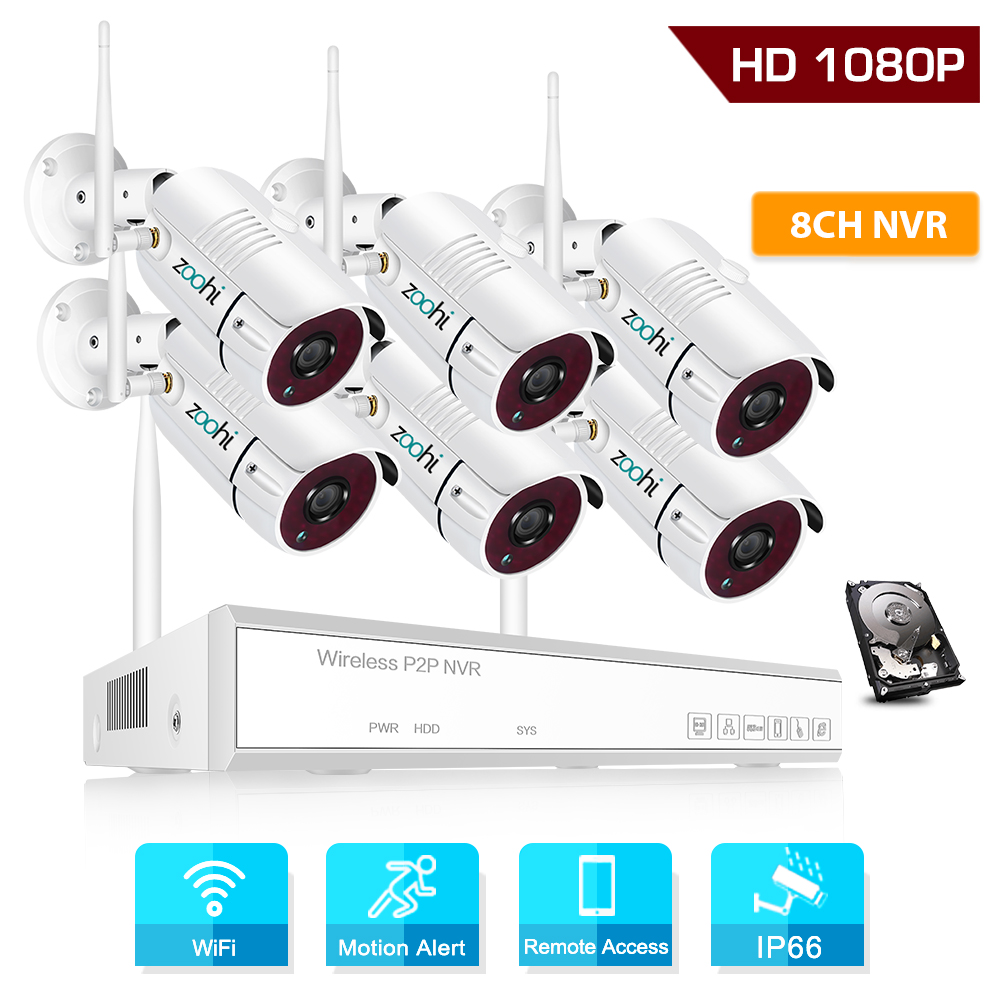 Zoohi 1080P HD Wireless Security Camera System 6CH 2.0MP WiFi Video Surveillance Camera System Kits IP66 Outdoor Night Vision