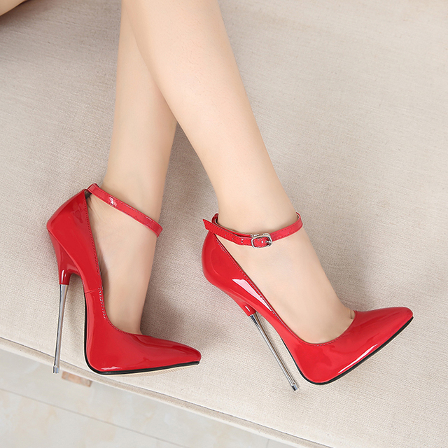2018 New Women Concise Pumps Sexy 16CM super High Heels Shoes Fashion Pointed Toe Wedding Party Women Shoes big size 35-44 MC-46