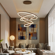Brushed Coffee Finish 4/3/2/1 Circle Rings Modern LED pendant lights for living room dining room aluminum pendant lamp fixtures modern pendant lights for living room dining room circle rings 3 rings 4 rings acrylic aluminum body led ceiling lamp fixtures
