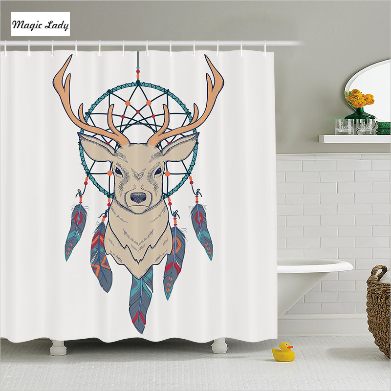 Shower curtain deer bathroom accessories animal american for Cream bathroom accessories