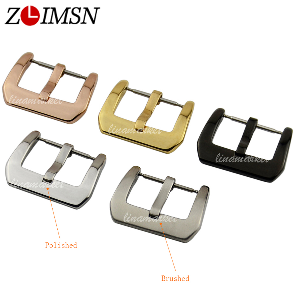 ZLIMSN 18 20 22 24 26mm Pure Solid Stainless Steel Watch Buckle Clasps Silver Rose Gold Black Polished for Leather Watch Bands zlimsn 500pcs stainless steel watch buckle black silver gold rose gold 16mm 18mm 20mm 22mm 24mm 26mm watchband pin buckle
