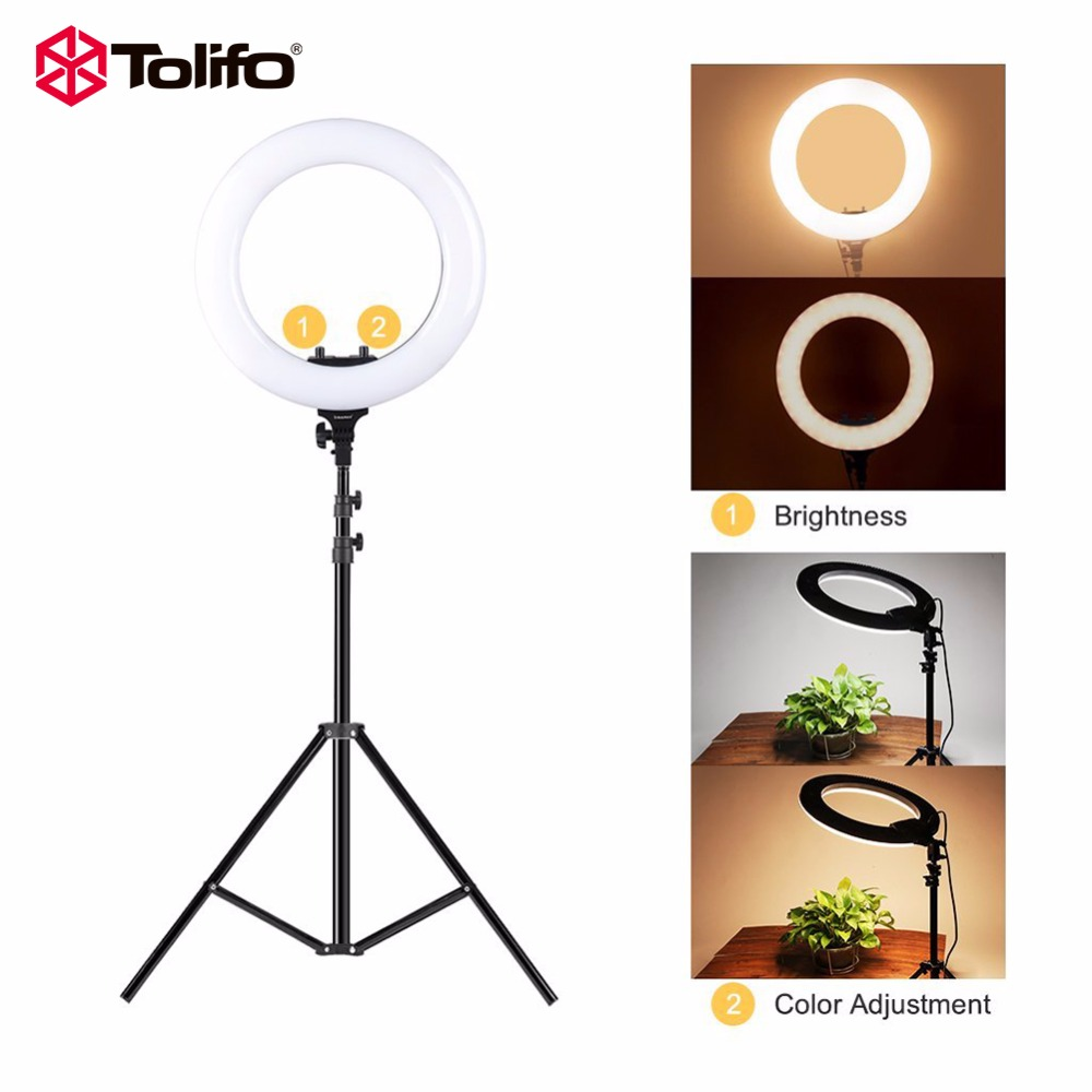 "Tolifo 14"" R40B AC LED Ring Light with Stand Kit 40W Bi-color 3200-5600k included Cosmetic Mirror for Photo Portrait Photography"