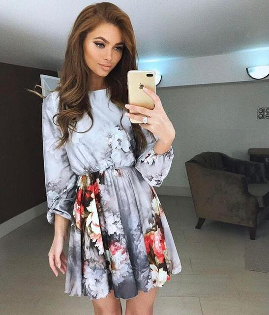 Women Dress 2018 Summer New Arrivals Chinese Style Lantern Three Quarter Sleeve Floral Print Mini Party Dresses