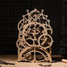 Robotime DIY Деревянный винтажный стол МАЯТНИК Часы Декоративные механические шестерни ремесла домашний стол интимные аксессуары для детской комнаты LK501