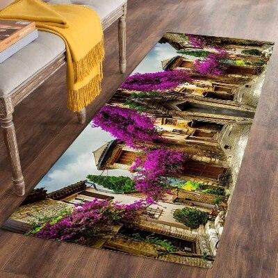 Else Purple Trees Vintage Town Lanscape 3d Print Non Slip Microfiber Washable Long Runner Mats Floor Mat Rugs Hallway Carpets