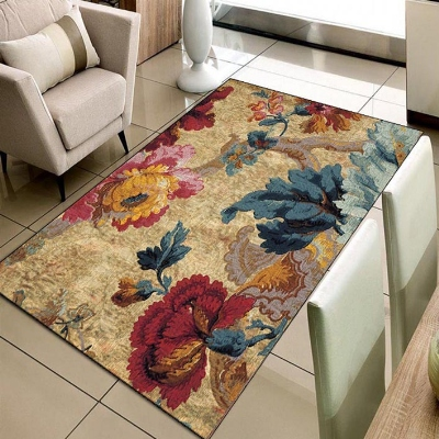 Else Brown Floor Red Yellow Green Flower FLoral 3d Print Non Slip Microfiber Living Room Decorative Modern Washable Area Rug Mat
