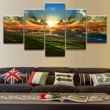 Canvas Posters Wall Art HD Prints Picture 5 Pieces Cloud Earth Grass Light Sky Sun Sunset Paintings Frame Home Living Room Decor