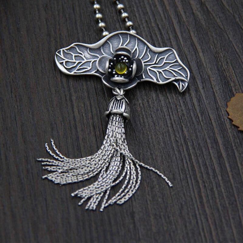 Real 925 Sterling Silver Lotus Leaf Tassel Pendant Natural Handmade Fine Jewelry Ethnic Long Tassel Pendant Without Necklace все цены