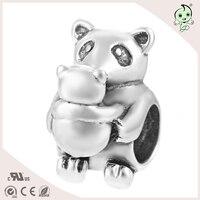 DIY panda madre y bebé dulce diseño único joyas S925 plata esterlina encanto de la mujer