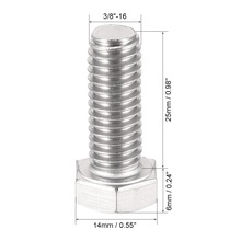 UXCELL 10Pcs Bolts 3/8-16x1 304 Stainless Steel Hex Head Screw Bolt Fastener For Ship Assembly And Other Machinery Industry
