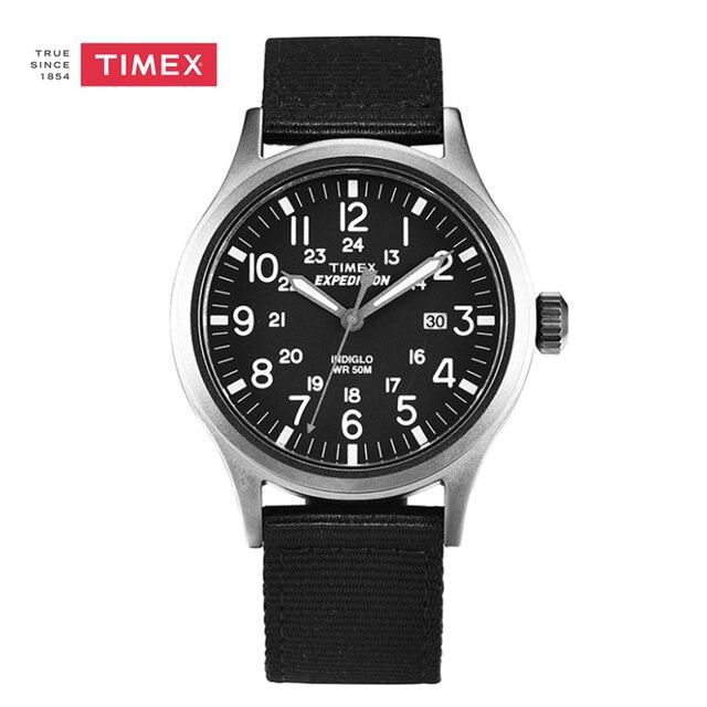 341f2e3f8979 Indiglo Timex Expedition Explorador Reloj Luminoso Fecha Del Análogo de  Cuarzo de Cuero Correa De Nylon