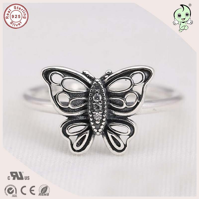 P&R products New Arrival High Quality Beautiful 100% 925 Sterling Silver Butterfly Finger Ring for women