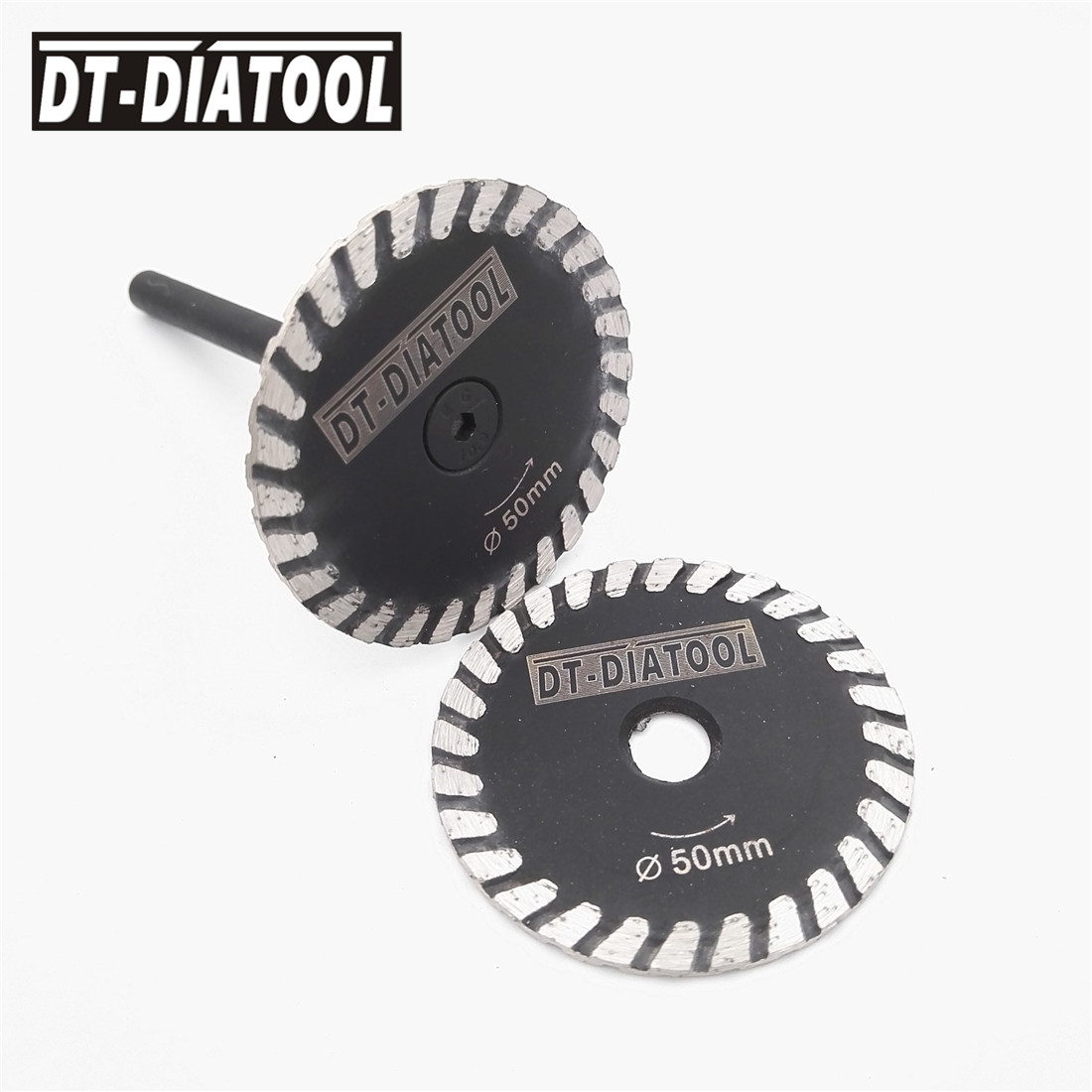 DT-DIATOOL 2pcs Mini Diamond Saw Blade Removable 6mm Shank Turbo Cutting Disc For Granite Marble Stone Concrete Grinding Wheel
